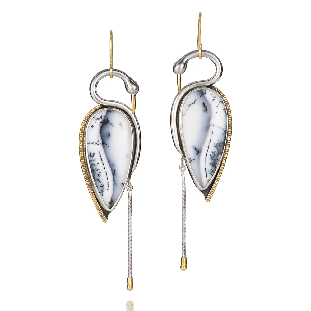 NISA Jewelry Snow Heron Earrings, on white