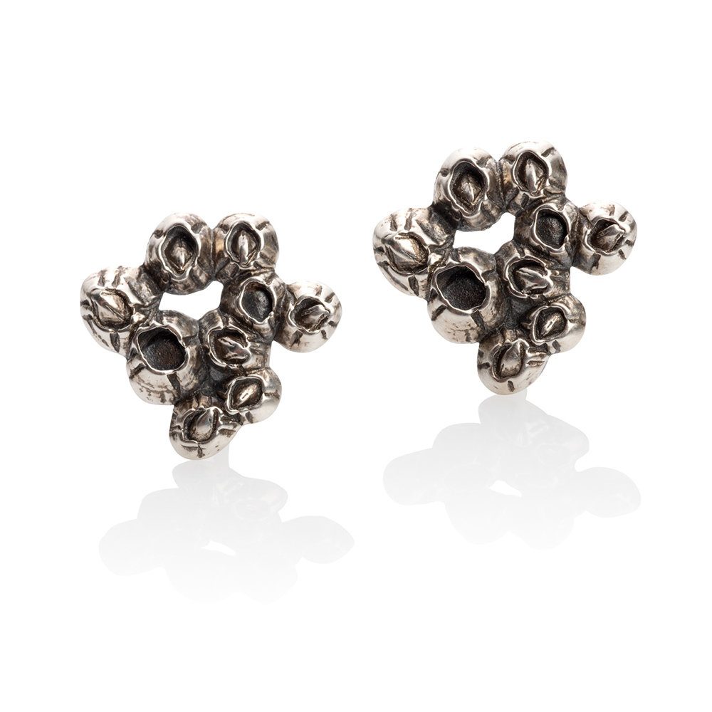 NISA Jewelry Silver Barnacle Cluster earrings