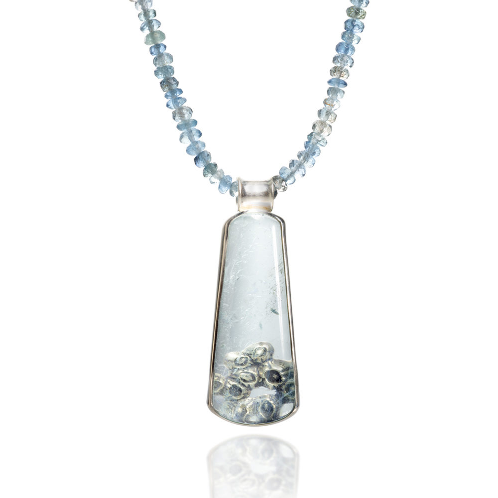 NISA Jewelry Beneath the Surface Aquamarine Necklace detail on white