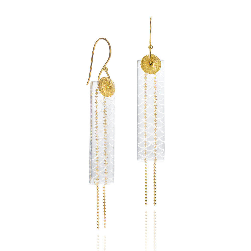 NISA Jewelry Water and Gold Earrings on white