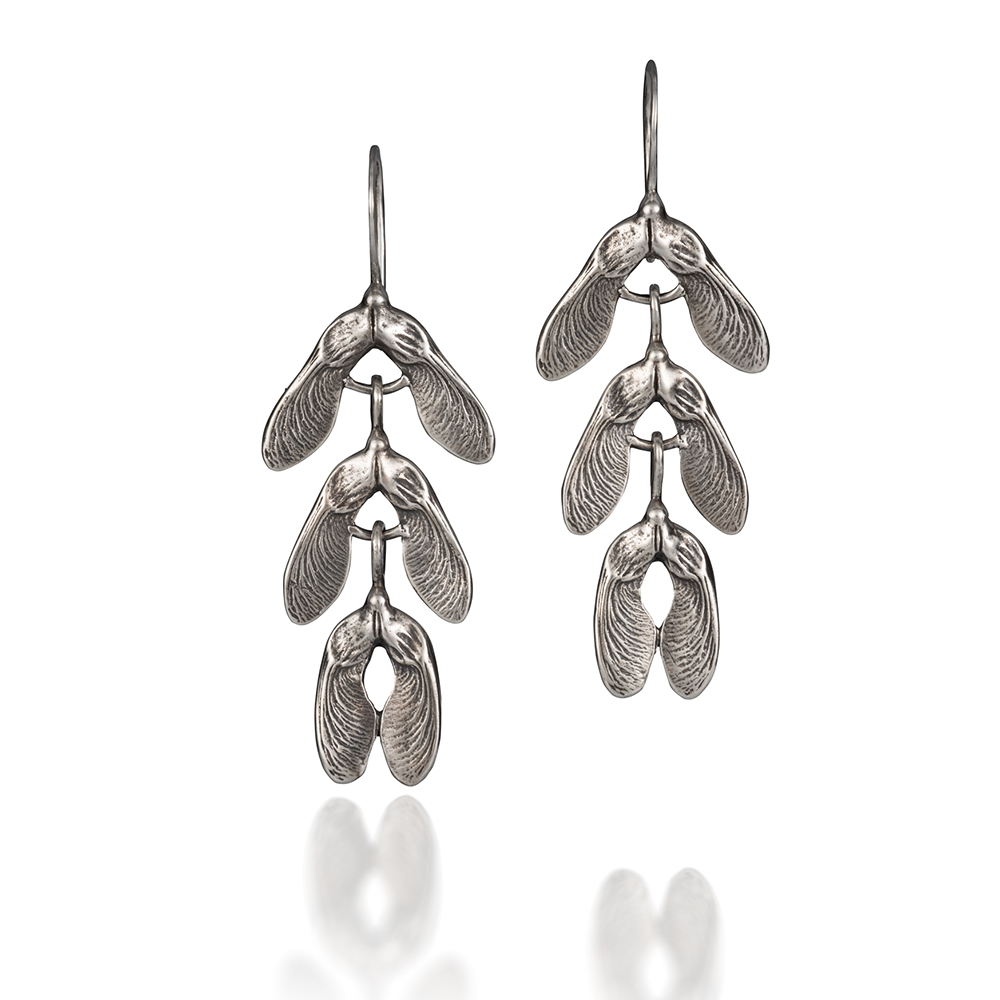 NISA Jewelry Samara Cascade Earrings in silver, on white