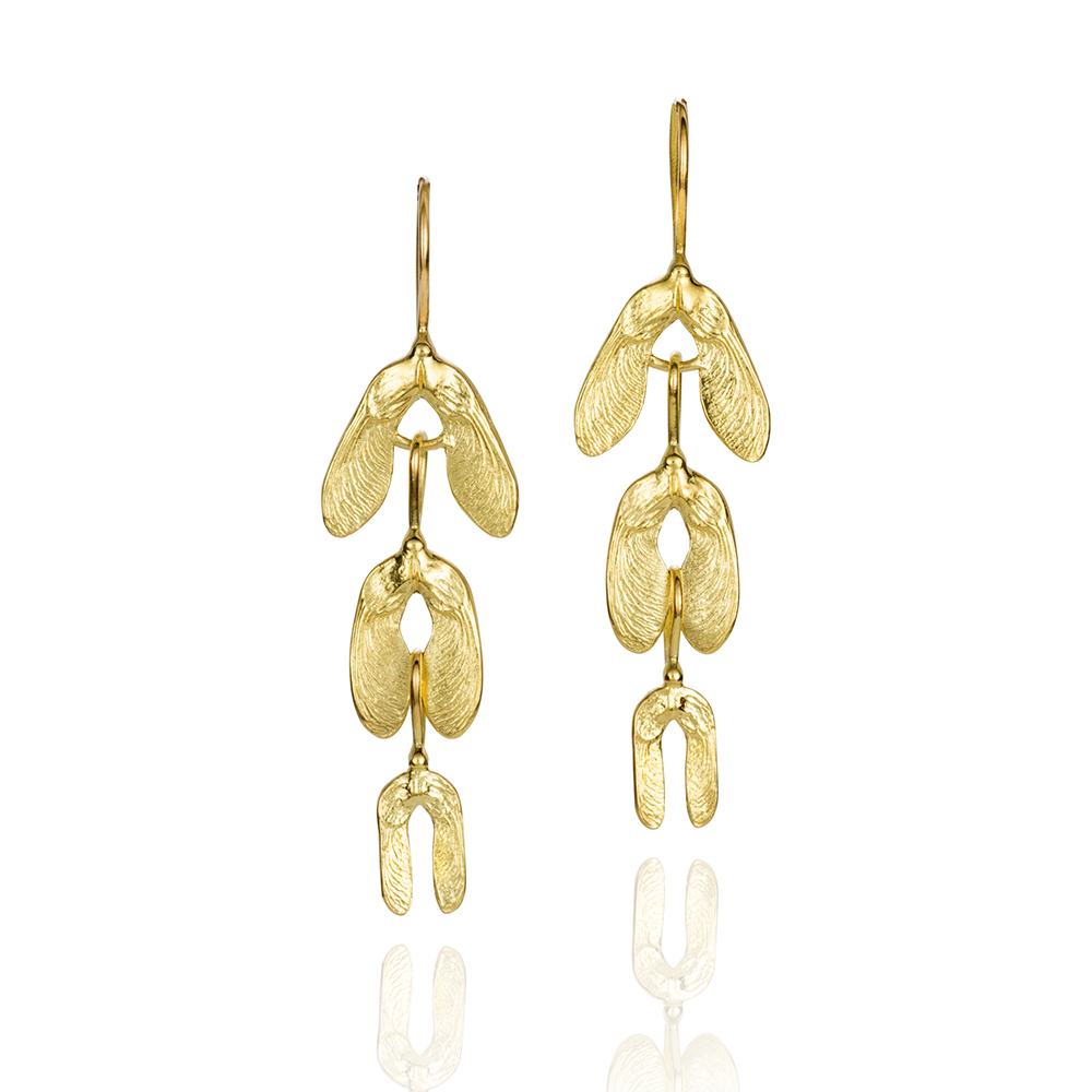 NISA Jewelry Samara Cascade Earrings, gold, on white