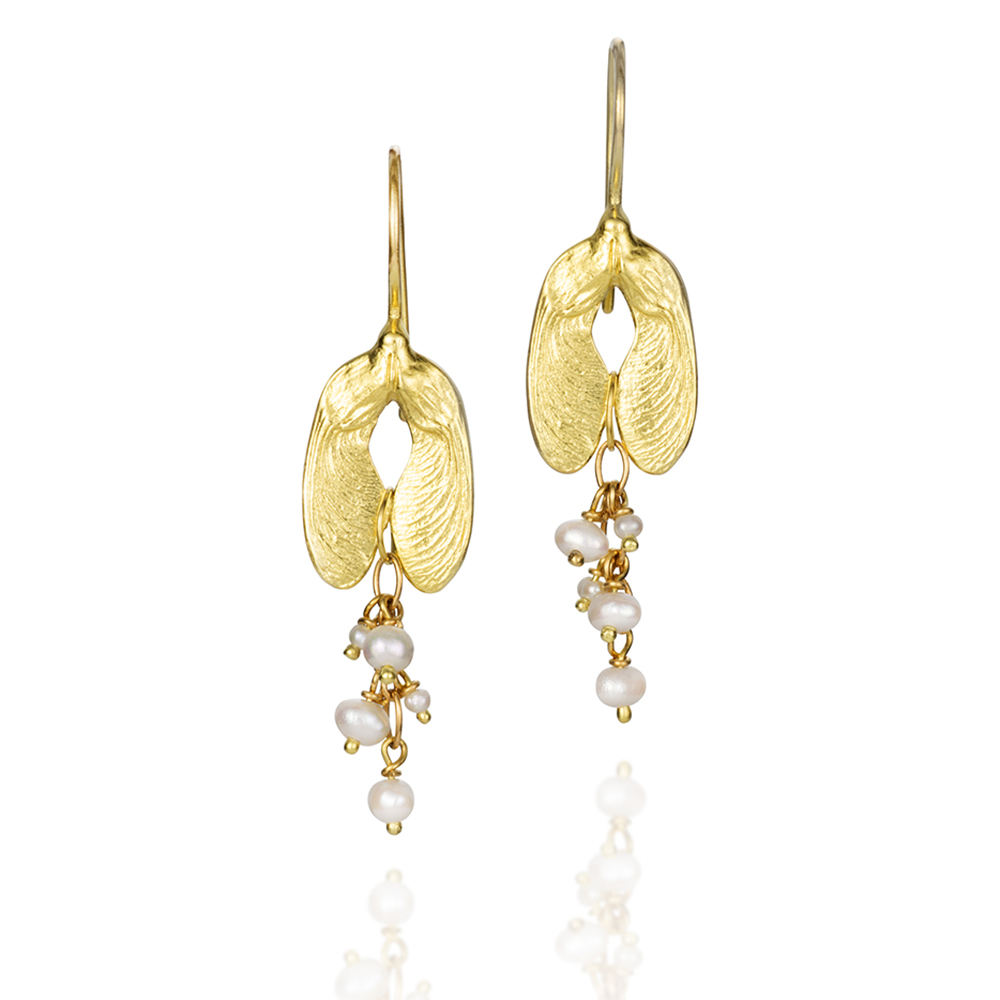 NISA Jewelry Pearl Seeded Samara Earrings gold, white