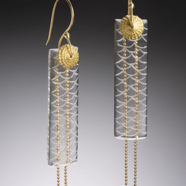 NISA Jewelry Water and Gold Quartz Earrings