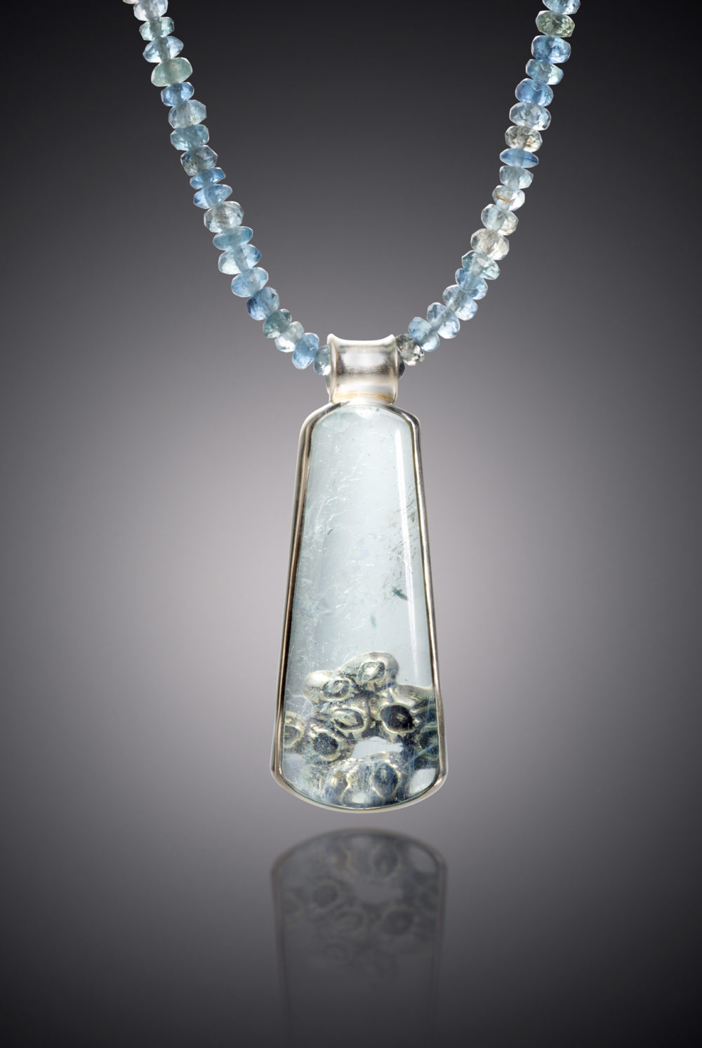NISA Jewelry Beneath the Surface Aquamarine Necklace detail on gray